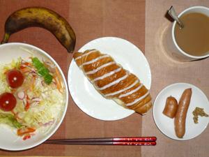 シュガーロール,サラダ,ソーセージ×1.5,バナナ,コーヒー