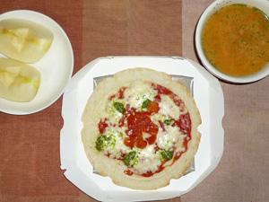 ピッツァマルゲリータ,トマトスープ,りんご