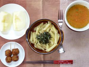 ペンネ柚子胡椒ソース,つくね×2,トマトスープ,りんご