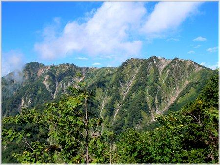 赤沢岳、鳴沢岳、岩小屋沢岳東面の展望@柏原新道