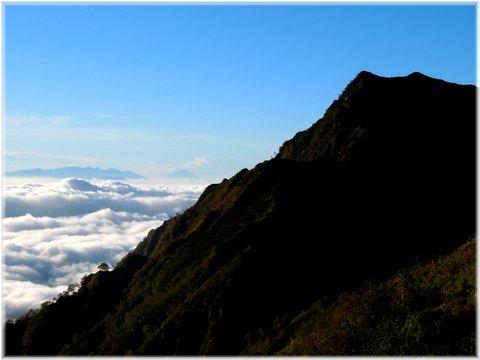 爺ヶ岳の先には富士山と八ヶ岳