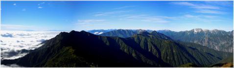 爺ヶ岳から鳴沢岳、赤沢岳方面