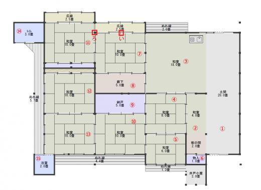 平面図15(現状・番号付き)