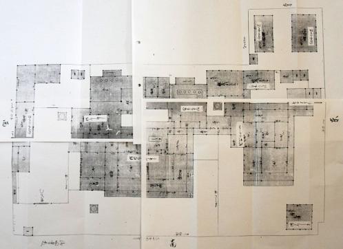 清閑寺邸の4分割した元図