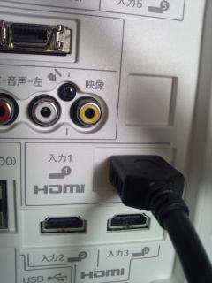 LC-24K7液晶テレビにHDMIケーブルを接続