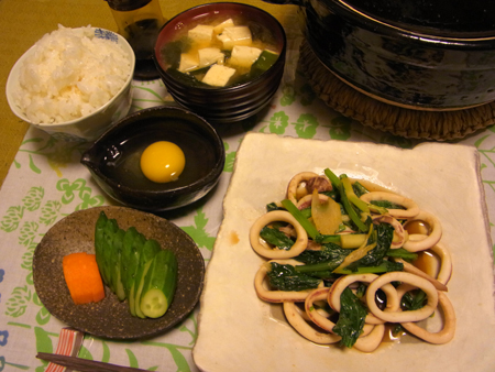 1いかとセロリと小松菜のバター醤油炒め定食