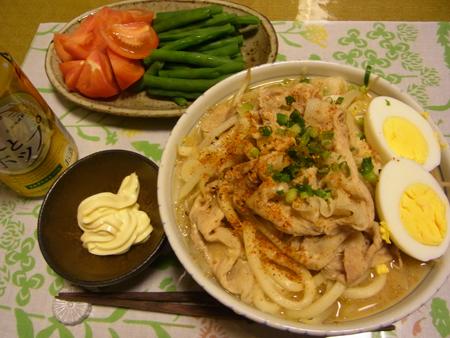 6豚肉ともやしと長ネギの味噌うどん定食