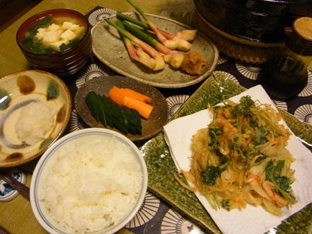 4桜海老とたまねぎと三つ葉のかき揚げ定食