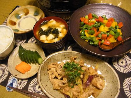 2豚肉とみょうがの味噌炒め定食