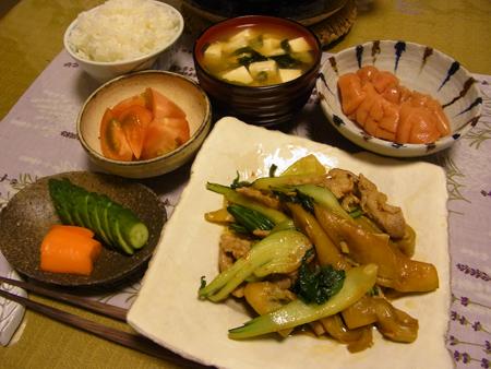1揚げ茄子と青梗菜のオイスターソース炒め定食