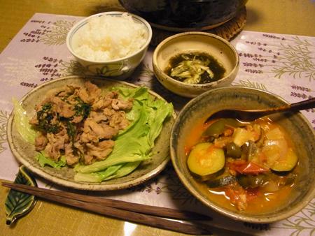 6ラタトゥイユ・豚肉の塩麹しそ炒め定食
