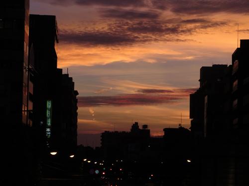 歩道橋からの夕焼け