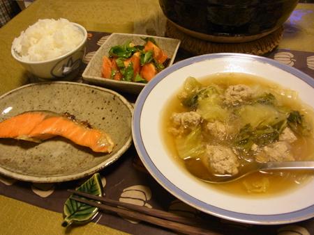 4肉団子と春雨と白菜のスープ定食
