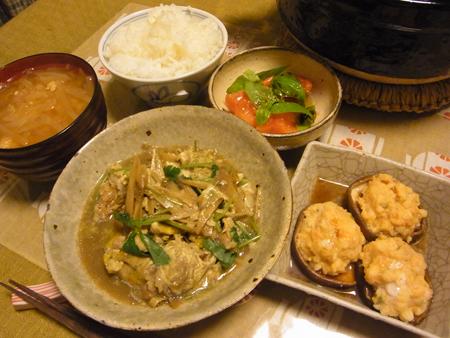 2豚肉の柳川風・えびしんじょ椎茸蒸し定食
