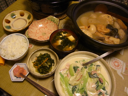4青梗菜とベーコンのクリーム煮定食
