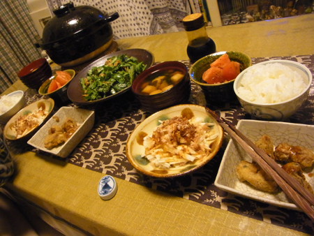 6牡蠣のカリっと揚げ・春菊と豚焼肉のサラダ定食