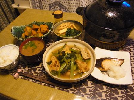 5ぶり塩焼き・がんもと小松菜の煮びたし定食
