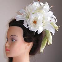 カサブランカとローズの結婚式髪飾り