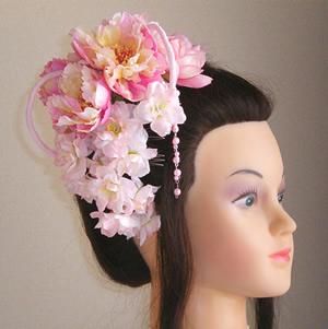 シャクヤクと桜の和装髪飾り