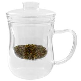 Just a Leaf, Tea Infuser, Glass Tea Cup with Strainer, 8 oz Tea