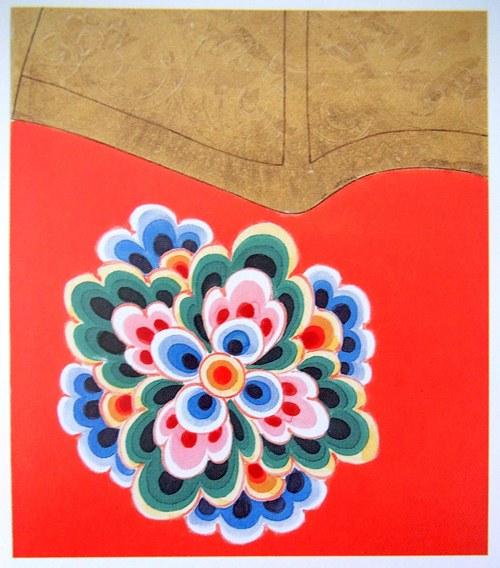 執金剛神像の彩色文様復元図(「奈良時代の塑像神将像」2010年中央公論美術出版社刊所収)