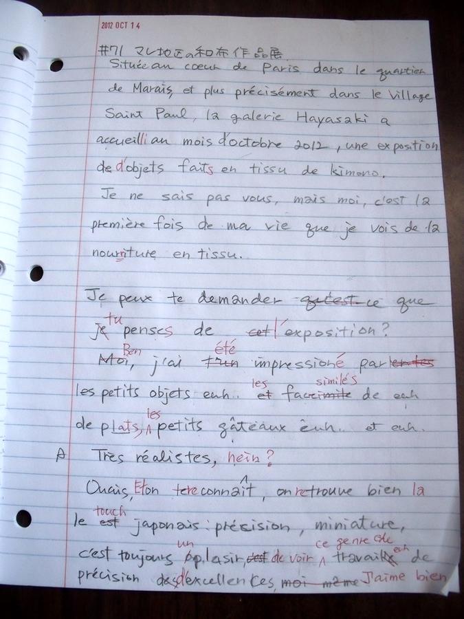 虎と小鳥のフランス日記 71-dictee