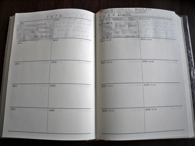 10年日記 書くところ