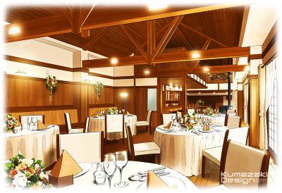 ブライダル施設 ウェディング 結婚式場 レストラン パーティー会場 内観パース インナーパース イメージイラスト 手描きパース 手書きパース フォトショップ着色