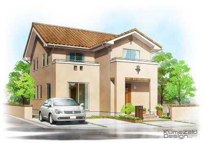 一戸建て住宅 南欧風 木造住宅 外観パース 完成予想図 イラスト 手書きパース 手描きパース フォトショップ