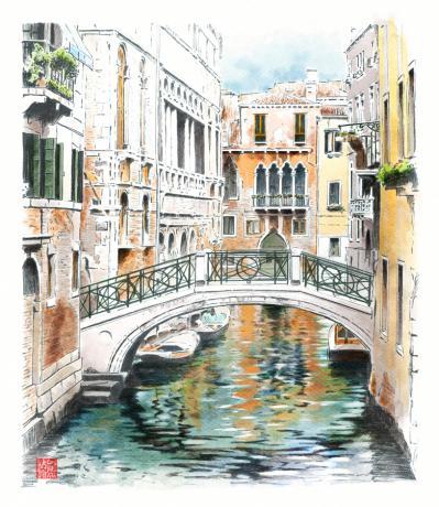 ベネチア スケッチ 水彩画 外観パース ラフスケッチ 手描きパース 手書きパース フォトショップ着色