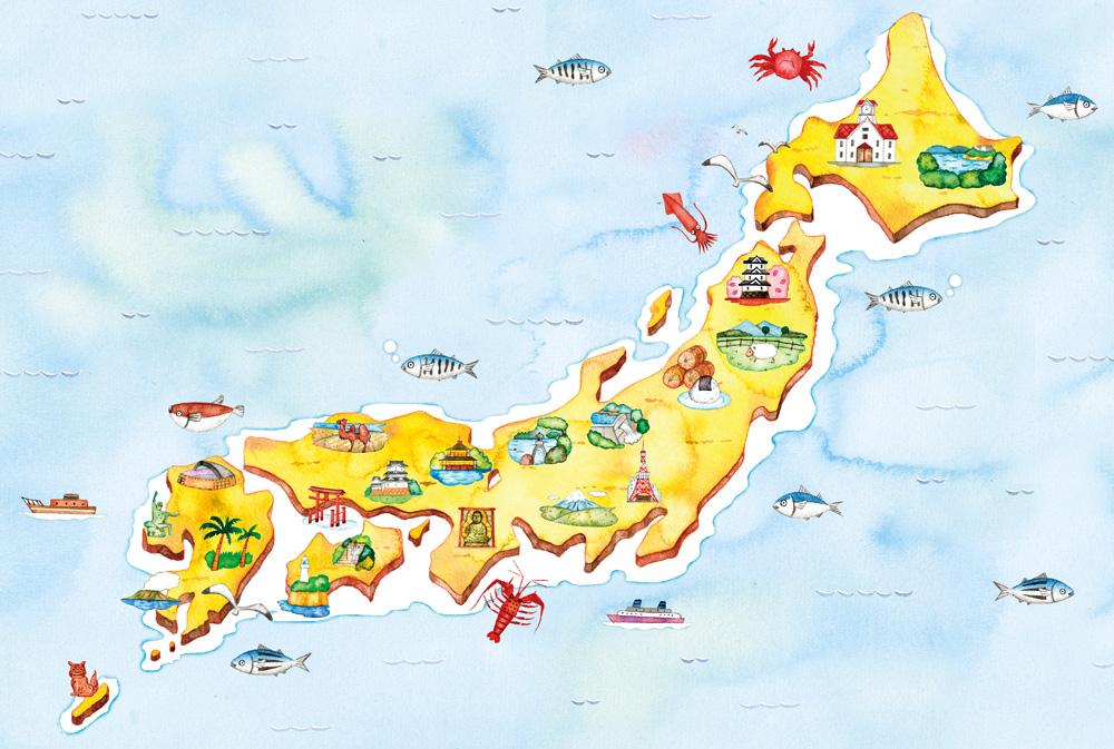日本全国名所旧跡のイラストマップ イラストレーターのアトリエノート