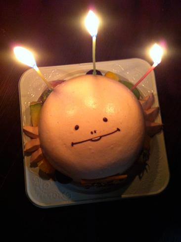 120916ウーパールーパーへぺたケーキろうそく