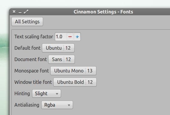 Ubuntu Cinnamon フォントサイズ変更