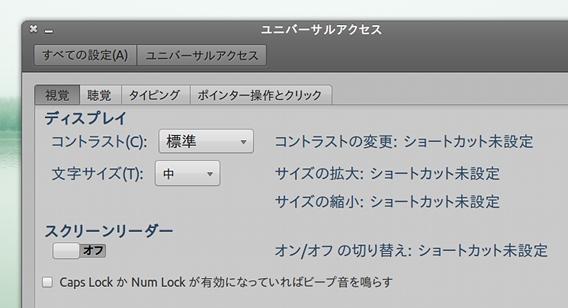 Ubuntu Unity フォントサイズ変更 ユニバーサルアクセス