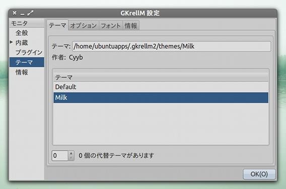 GKrellM Ubuntu システムモニタ テーマの適用