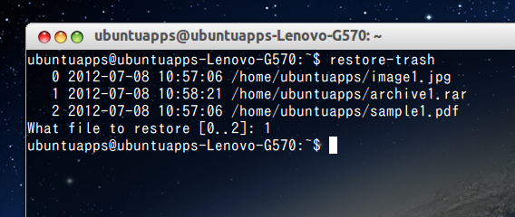 trash-cli Ubuntu コマンド ゴミ箱から元に戻す