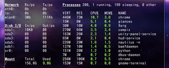 Glances Ubuntu コマンド システムモニタ ネットワーク プロセス