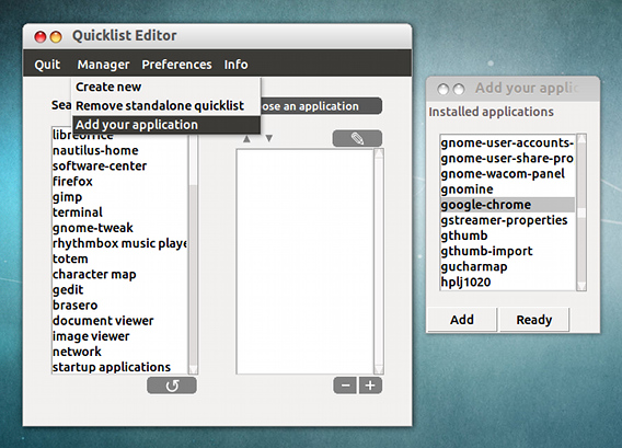 QLE Unity Quicklist Editor Ubuntu Unity Launcher アプリケーションの追加