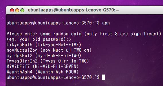 APG (Automated Password Generator) Ubuntu コマンド パスワードジェネレータ