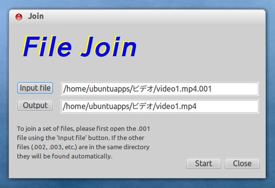 HJSplit for Linux 動画ファイルを結合