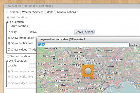 My Weather Indicator Ubuntu 天気 ウィジェット 都市の設定