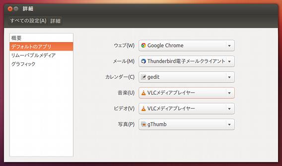 Ubuntu 12.10 デフォルトのアプリケーション
