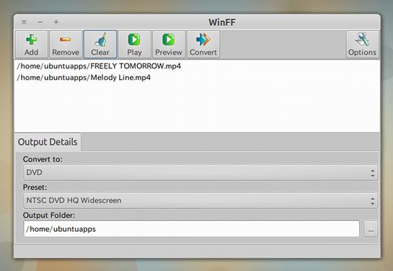 WinFF DVD変換