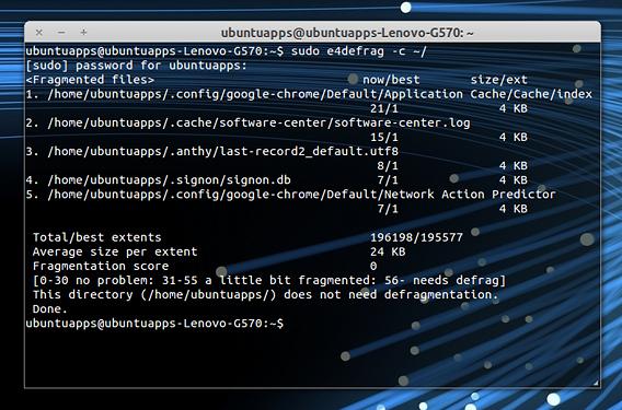 e4defrag Ubuntu コマンド デフラグ