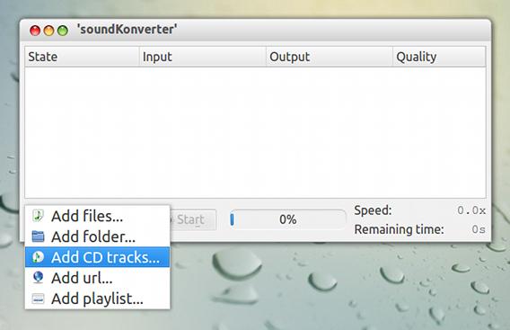 soundKonverter Ubuntu CDリッピング トラックの追加